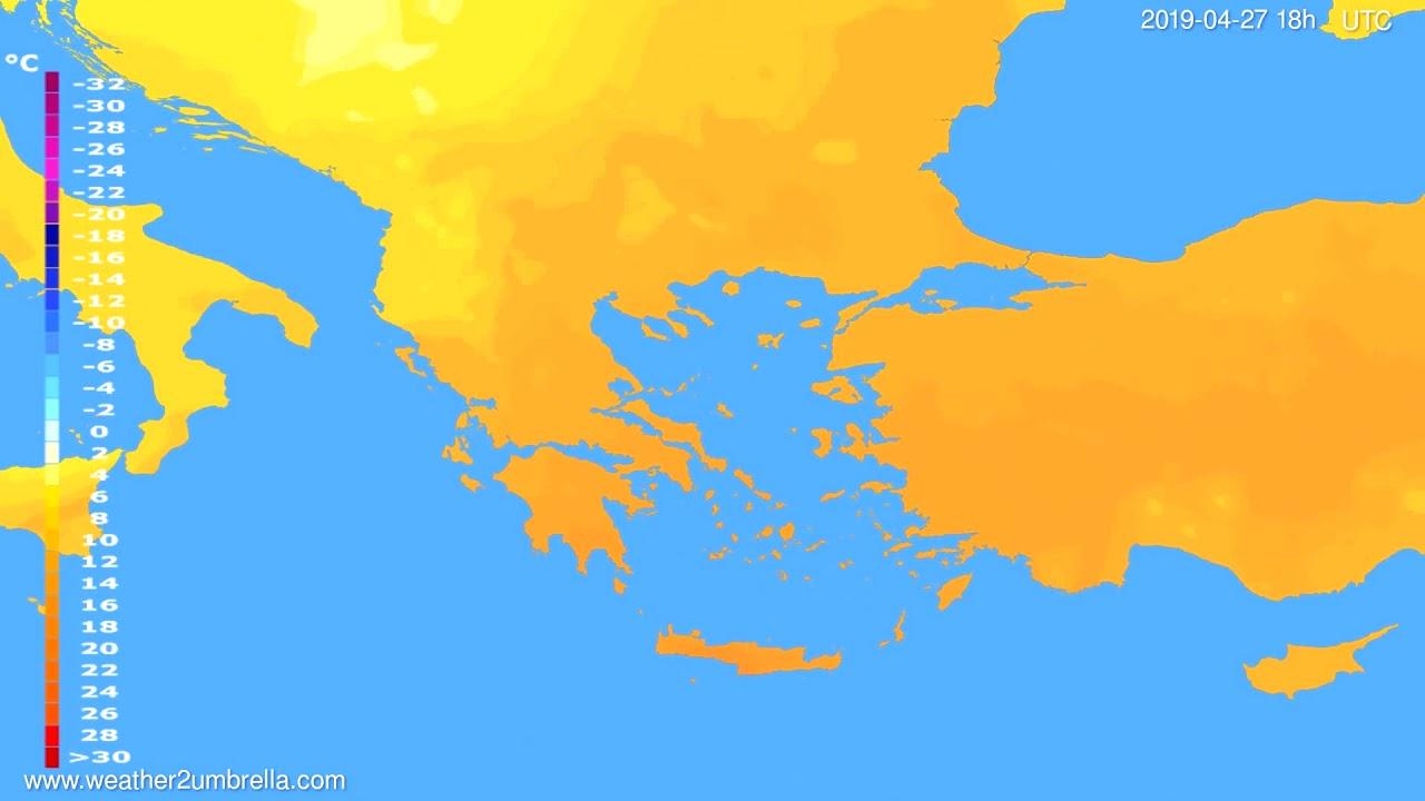 Temperature forecast Greece // modelrun: 12h UTC 2019-04-24