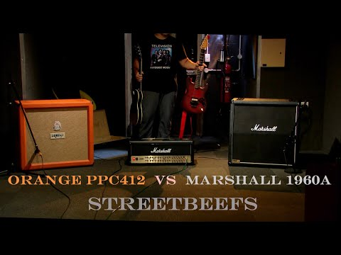 Orange PPC412 vintage 30 vs Marshall 1960a g12t-75 (The fully visible cab is the one I'm using!)
