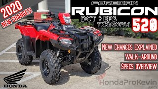9. 2020 Honda Foreman RUBICON 520 DCT + EPS ATV Review of Specs / Changes & Walk-Around (TRX520FA6)
