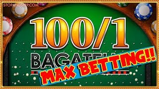 MAX BETTING!! 100 to 1 Bagatelle bookies roulette