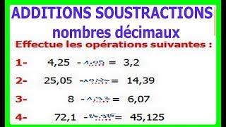 Maths 6ème - Additions et soustractions de nombres décimaux Exercice 7
