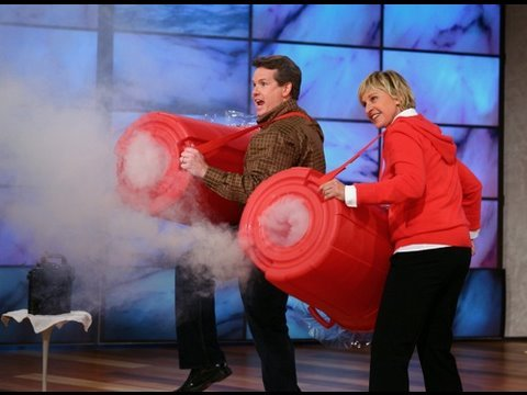 smoke - Steve and Ellen use a trash can and a fog machine to fire giant vortex smoke rings across the Ellen DeGeneres studio! Check out this and other cool science e...