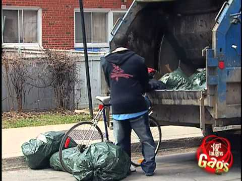Hidden Camera Prank – Biker in garbage truck