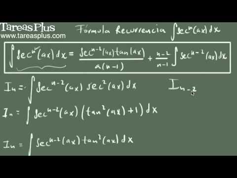 Integral de secante a la n (fórmula de recurrencia)