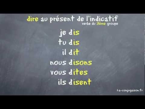 dire au présent de l'indicatif - La-conjugaison.fr