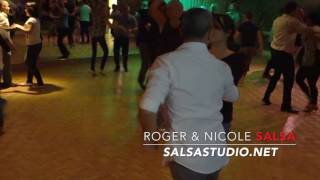 Instructors Roger & Nicole demoing FAST Salsa/Mambo