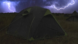 Video ⚡️ Thunderstorm & Rain On Tent Sounds For Sleeping ~ Lightning Drops Downpour Canvas Ambience MP3, 3GP, MP4, WEBM, AVI, FLV Mei 2019