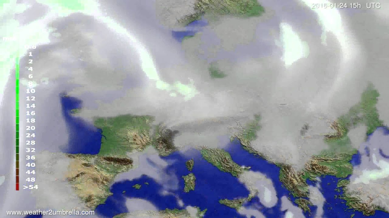 Precipitation forecast Europe 2016-01-22