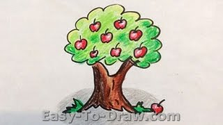 How to draw a cartoon apple tree - Free & Easy Tutorial for Kids