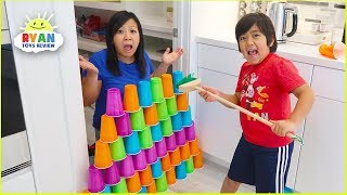 Video Ryan Pretend Play stacking Game with Giant Cup Wall MP3, 3GP, MP4, WEBM, AVI, FLV April 2019
