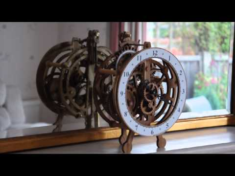 Brian Law - Clock 14 prototype build, has a spring to drive the movement and larger number of gears in the gear train to improve the visual aesthetic, Inlaid engraved di...