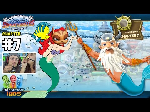 Lets Play SKYLANDERS SUPERCHARGERS Chapter 7: City Under Sea! (Dad & Mom Gameplay)