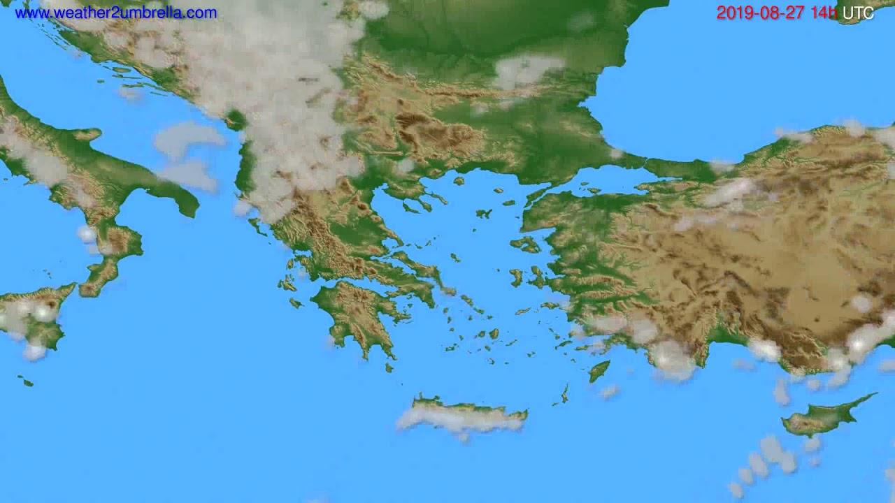 Cloud forecast Greece // modelrun: 12h UTC 2019-08-25