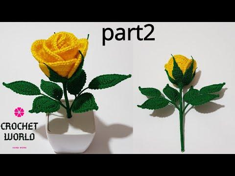 How To Make Crochet Amigurumi Rose Flower (Part2) Tutorial English Free Pattern For Beginner's
