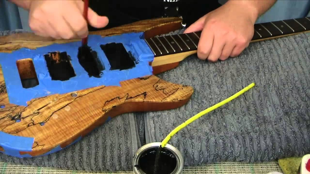 Electric Guitar Shielding with Conductive Paint and Copper Tape