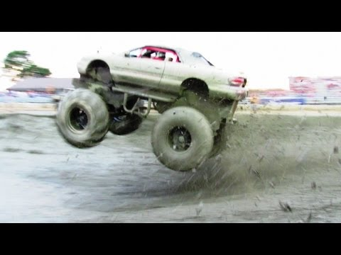 Monster Sebring catches a little air at mud bogging event