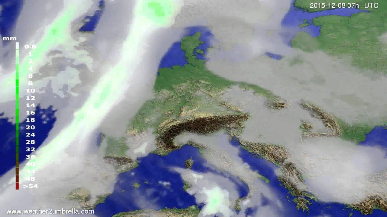 Precipitation forecast Europe 2015-12-04