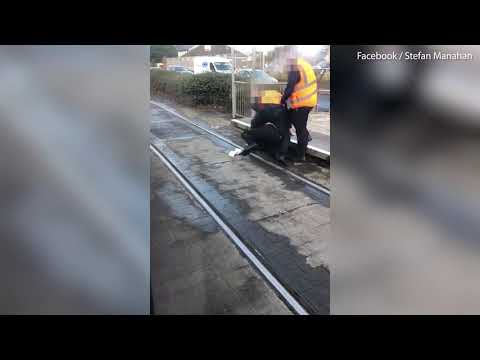 Video: Shocking video sees a fight between a man and a ticket inspector