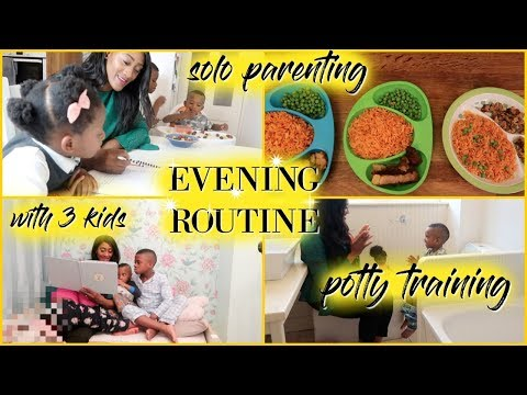 Evening Routine With 3 Kids- Potty Training + Homework + Solo Parenting  | Ad