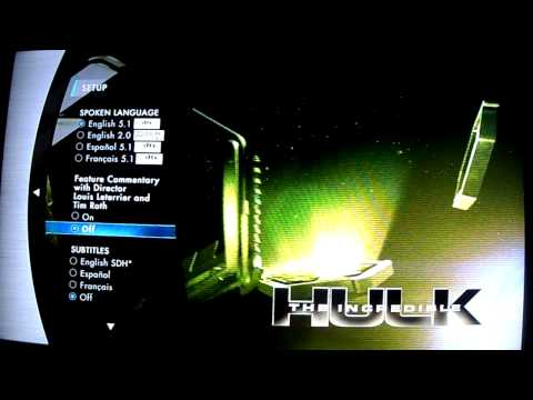 Menu Blu-ray El Increible Hulk (The Incredible Hulk)