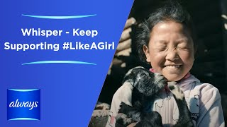 "Whisper (Always' sister brand in China) is helping 100,000 rural girls to grow up confidently with proper knowledge and superior products. Keep Supporting #LikeAGirl.The Whisper/Always ""Like a Girl"" campaign is dedicated to championing girl's confidence particularly at the onset of puberty — a moment when a girl's confidence can drop twice as much as a boy's*. This is particularly true for girls whose parents are working away from their hometowns.  When these girls first encounter their period, they have no one to turn to for guidance or support.  Always in China has been supporting girls in 6th grade and 7th grade with confidence-building kits and puberty education classes.  Always hopes that with proper knowledge and superior products, the girls can have great first period protection and stay confident.Always invites you to participate by sharing this video and help all girls in China to Keep Being Confident #LikeAGirl*Source: ""Global Self-Esteem Across the Life Span"" Study, American Psychological Association, Inc., 2002, Vol 17, No. 3, 423 – 434."