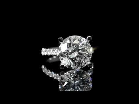 CGL Certified 8.46ct Round Brilliant Cut Diamond Ring