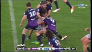 Melbourne Storm's wrestling tactics are back in the spotlight, less than a fortnight before the grand final. Cowboys players complained about a tackle that e...