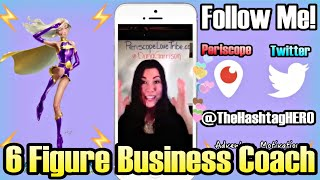 "Periscope live stream Question and Answer session with Periscope guru and 6-figure business coach Dana Garrison.Dana Garrison is the founder of the popular online community Periscope Love Tribe. As a business coach, she helps entrepreneurs break through their 6-figure ceiling by determining the limiting subconscious beliefs that get in the way of their success.After coming down with a chronic illness that doctors could not diagnose, Dana decided to push through and do her own research. it wasn't until she learned that about 90% of what shows up in our lives is governed by our unconscious habits and patterns, was she able to develop the framework to not only cure her cognitive illness but also create a 6 figure business coaching practice in 9 months.For more information visit PerisocopeLoveTribe.comFLASH FORWARD SUMMARY:1:00 What is Periscope Love Tribe? How does it work and how to join?2:30 How To Use Love Tribe to grow your following, increase engagement and have a great time!3:50 How Periscope compares to the other social media outlets like Instagram and Twitter5:18 How Dana was able to become a 6-figure business coach7:19 Dana explains her family entanglements and childhood imprints methods7:40 Dana's two secrets sauces that helped her reach the next level in her business8:31 Dana's greatest ""aha"" moment and how she deals with negative thoughts10:07 Dana's advice specifically for young entrepreneurs12:27 Dana's arch enemies!13:51 Book recommendations15:34 Quotes to live by! Dana's #HEROICPhilosophies17:05 Dana's favorite mentors and authors18:06 Where to find Dana!Follow The Adventures @TheHashtagHEROhttps://www.Facebook.com/TheHashtagHEROhttps://Twitter.com/TheHashtagHEROhttps://Instagram.com/TheHashtagHEROSubscribe our kickass mailing list to receive updates on Events, Hangouts, News and all things super!http://www.TheHashtagHERO.com/events"