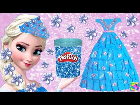 Play Doh DIY Sparkle Princess Dress & Glamorous Glitter Crown for Elsa Frozen  Funny learning for Ki