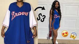 $3 THRIFTED OVERSIZED JERSEY TO FITTED DRESS   CLOTHING HACKS   THRIFT FLIP VIDEO