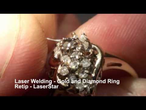 <h3>Laser Welding - Retipping Diamond Ring </h3>Laser welding jewelry repair and design. Re-tipping a white gold baguette diamond ring using a laser welding system. White gold laser welding wire was used to rebuild the tips on this white gold diamond ring. This jewelry laser welding repair was done using a 100 Joule LaserStar laser welding system but could have been done on many of our other laser welders available at LaserStar Technologies.<br /><br />