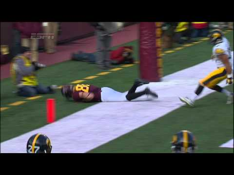 Maxx Williams 4-yard diving touchdown catch vs Iowa 2014 video.