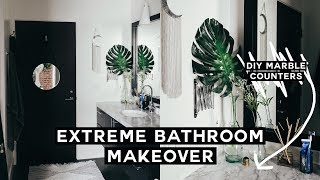 BATHROOM MAKEOVER + DIY Marble Counters // MOVING VLOG#4