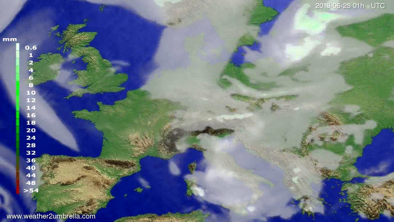 Precipitation forecast Europe 2018-06-22