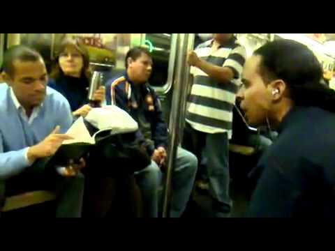 Crazy Latino Flips Out On A Guy On NYC Subway