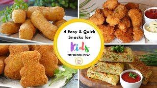 4 Quick & Easy Snacks Recipe for Kids Tiffin Box | Kids Lunch Box Ideas
