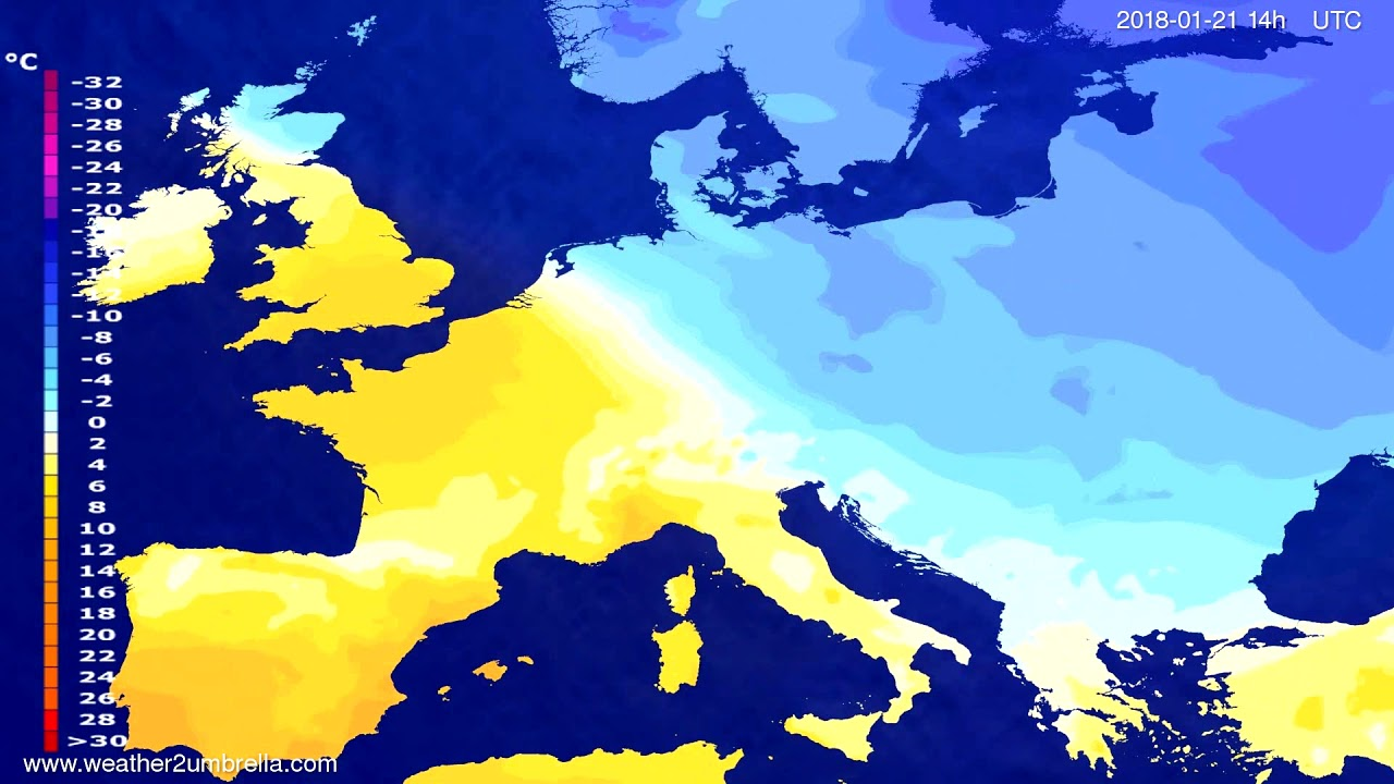 Temperature forecast Europe 2018-01-17