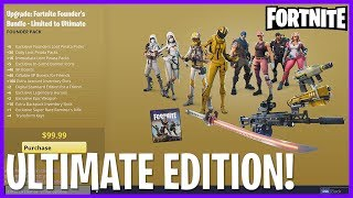 This video I go over the Fortnite ULTIMATE edition, which is the highest tier upgrade for the game. The total coast for this edition is $250 US! Upgrading from limited costs $100!JOIN OUR FORTNITE DISCORD!: https://discord.gg/Cd5CAn3Enjoyed the video? Leave a Tip!: https://www.paypal.com/cgi-bin/webscr?cmd=_s-xclick&hosted_button_id=DFULK9FT3WTJLBecome a Patron & Earn Monthly Rewards!: https://www.patreon.com/Channel5GamingFollow me on STEAM workshop!: http://steamcommunity.com/id/Channel5Gaming/myworkshopfiles/?appid=493340Please like my facebook page!: https://www.facebook.com/Channel5-Gaming-1252547981438360Follow me on Twitter: https://twitter.com/Channel5GamingLive on Twitch TV: http://www.twitch.tv/jonny_fivealiveContact Info: Channel5GAD@gmail.com(GAD = Game, Art, & Design)FORTNITE! Ultimate Edition Overview! #Fortnite