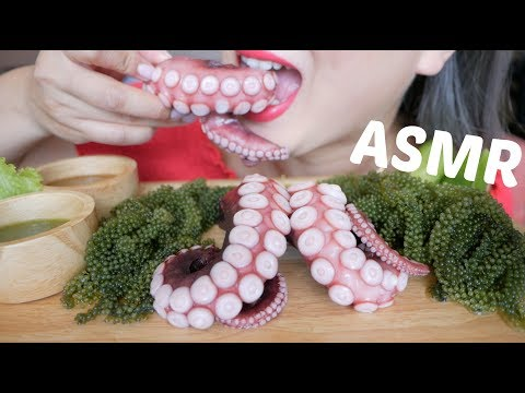 ASMR Octopus Tentacle +RAW Sea Grapes |*NO Talking Crunchy Eating Sounds | N.E Let's Eat