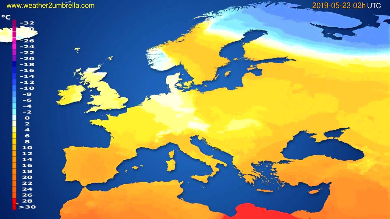 Temperature forecast Europe // modelrun: 00h UTC 2019-05-20