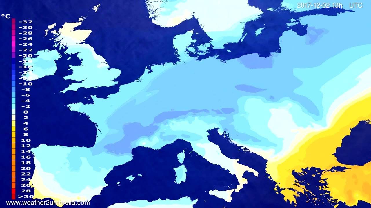 Temperature forecast Europe 2017-11-29