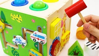Download Video Learning Colors Shapes Vehicles Animals with Wooden Box Hammer Balls Toy MP3 3GP MP4