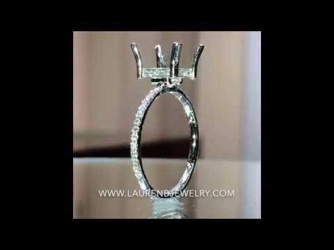 VNR-12339 Platinum Engagement Ring Setting for Square Diamond