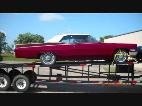 KANDY SLAB - 1968 CADILLAC COUPE DEVILLE ... CRANBERRY AND CREAM KANDY SLAB ... BEING TRANSPORTED FROM LOUISIANA BACK TO VIRGINIA...... AFTER GETTING THE WET WET!!!!!!