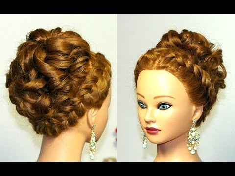 Wedding prom hairstyle for long hair. Updo hairstyles.