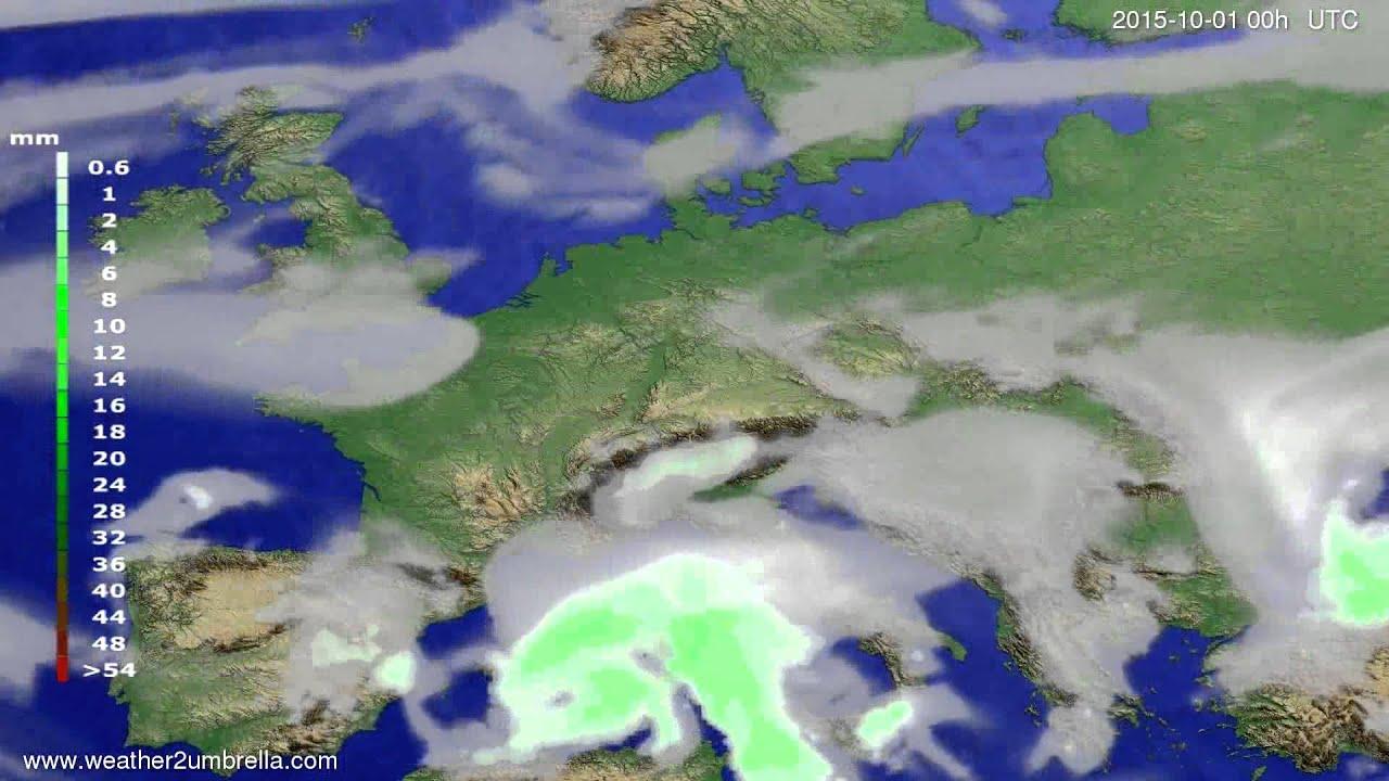 Precipitation forecast Europe 2015-09-27