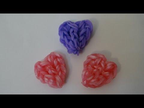 Смотреть как сделать из резинок брелок сердце