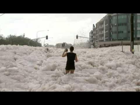 Sea Foam Blankets Australian Beach Town