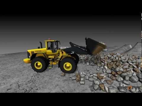 Wheel loader loading rocks