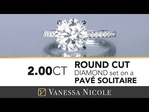 2ct PAVE SOLITAIRE DIAMOND RING | Pave Solitaire Engagement Ring | Vanessa Nicole Jewels